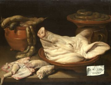 Monogrammist JVR: Still Life with Pig's Head, Trotters and Sausage